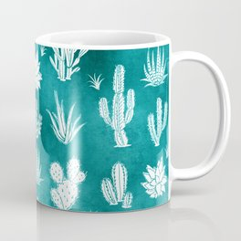 Cactus Pattern on Teal Coffee Mug