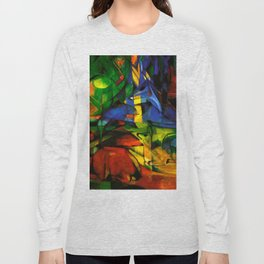 Deers in Wood by Franz Marc Long Sleeve T-shirt