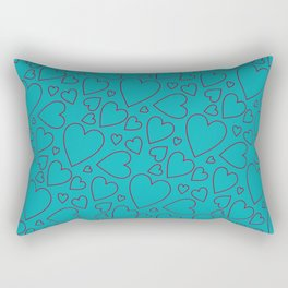 Dark red and turquoise hearts pattern. Rectangular Pillow