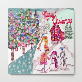 Merry Christmas Snowgirl Metal Print