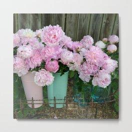 Garden Pink Peonies Aqua Pink Buckets Prints and Home Decor Metal Print