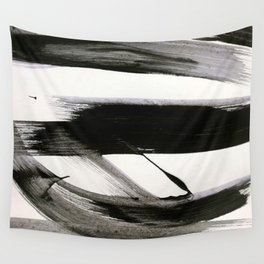 Brushstroke 9: a bold, minimal, black and white abstract piece Wall Tapestry