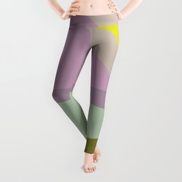 Abstract Geometric in Purple and Green Leggings