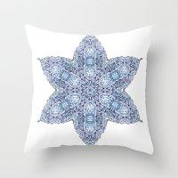 snowflake Throw Pillows featuring Snowflake by Awispa