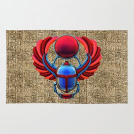 Colorful Egyptian Scarab Rug