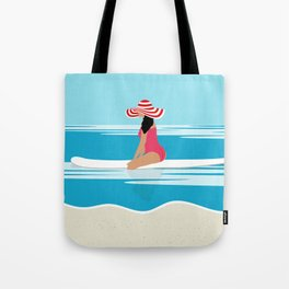 Solo surfing woman Tote Bag