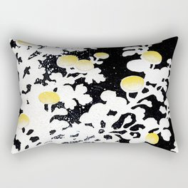 White Yellow Flowers on Black Background Rectangular Pillow