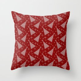 Merry Christmas- Abstract christmas tree pattern on festive red Throw Pillow
