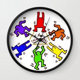 Keith Haring inspired Color Wheel Wall Clock