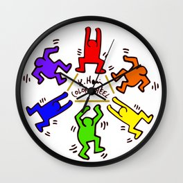 Keith Haring inspired Color Wheel Wall Clock
