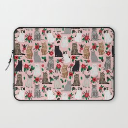 Catsmas christmas poinsettias florals cat breeds pet friendly festive holiday gifts Laptop Sleeve