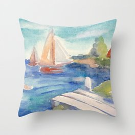 Sailing boat in sea drawing by watercolor Throw Pillow