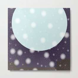 Snowing Moon Light Metal Print