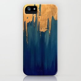 Gold Leaf & Blue Abstract iPhone Case