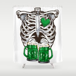 St Patrick's Day Skeleton Love Green Beer Shower Curtain