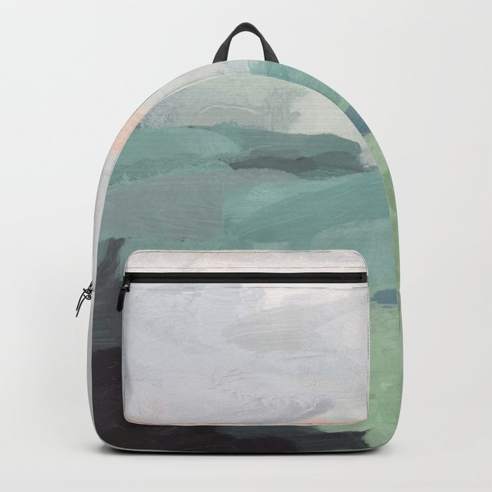 Seafoam Green Mint Black Blush Pink Abstract Nature Land Art Painting Backpack
