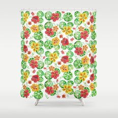 Watercolor Nasturtiums Shower Curtain