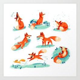 Foxy Poses Art Print