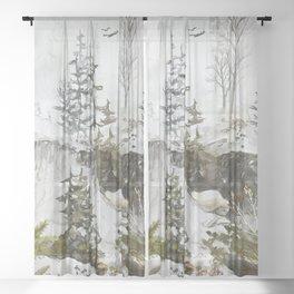 Rocks, pines and spirits Sheer Curtain