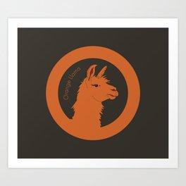 Orange Llama Art Print