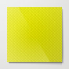Neon Yellow Puffy Stitch Quilt Metal Print