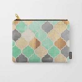 Charcoal, Mint, Wood & Gold Moroccan Pattern Carry-All Pouch