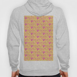 Pink yellow hand painted watercolor I love mum typography Hoody