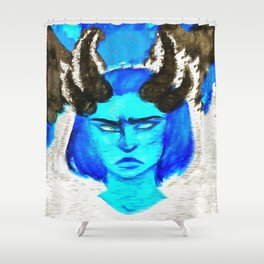 Devil With A Blue Face On Shower Curtain