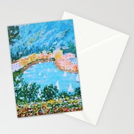 Portofino Harbor and Flowers Landscape Painting Stationery Cards