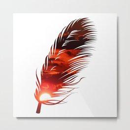 Sky On Fire Phoenix Feather Sunset Metal Print