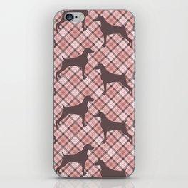 PINK TARTAN WEIMARANER iPhone Skin