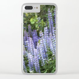 Lupins in Blue and Purple Clear iPhone Case