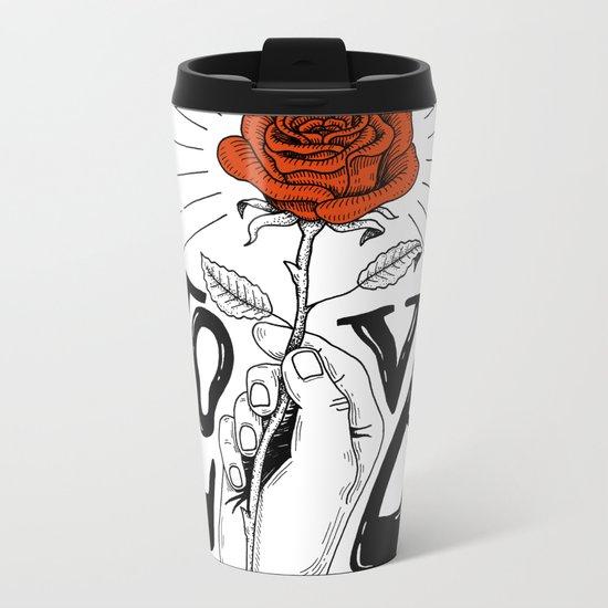 Hand with Rose Metal Travel Mug