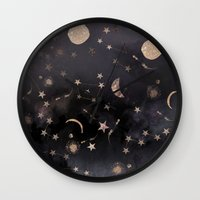 pink floyd Wall Clocks featuring Constellations  by Nikkistrange