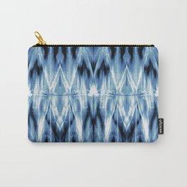 Blue Satin Shibori Argyle Carry-All Pouch