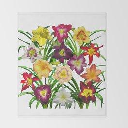 Display of daylilies I Throw Blanket