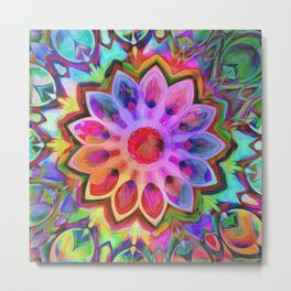 Rainbow Flower Pink Metal Print
