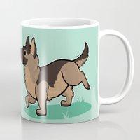 german shepherd Mugs featuring Chibi German Shepherd by Ashdoun