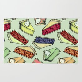 Easy As Pie - cute hand drawn illustrations of pie on sage green Rug