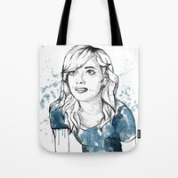 emma stone Tote Bags featuring Emma by naidl