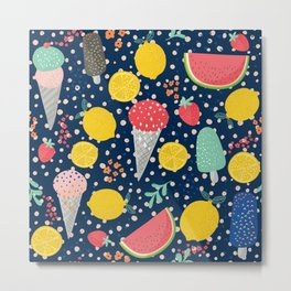 Colorful summer food pattern Metal Print