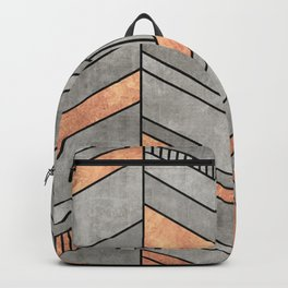 Abstract Chevron Pattern - Concrete and Copper Backpack