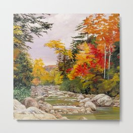 Autumn tints & foliage in the White Mountains, New Hampshire landscape nature painting by Marianne North Metal Print