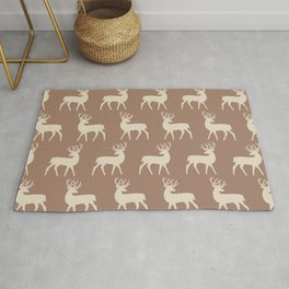Mid Century Modern Deer Pattern Brown and Tan Rug