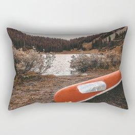 Rustic Autumn Canoe // Dusk Lit Gray Sky Pond Reflection in the Colorado Woodlands Rectangular Pillow
