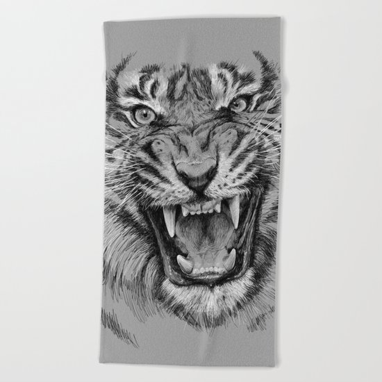 Tiger Portrait Animal Design Beach Towel