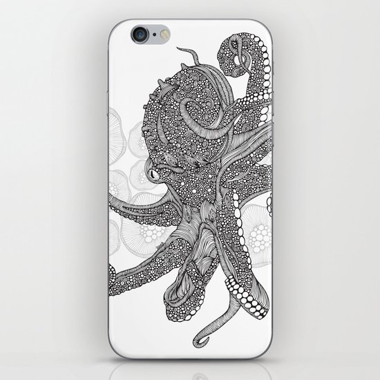 Octopus Bloom black and white iPhone & iPod Skin