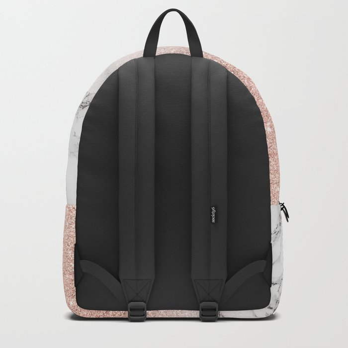 Modern faux rose gold pink glitter ombre white marble Rucksack