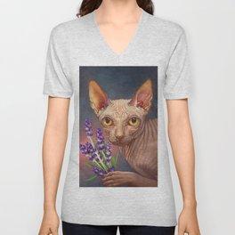 Cat 07, Sphynx Holding flowers. Unisex V-Neck