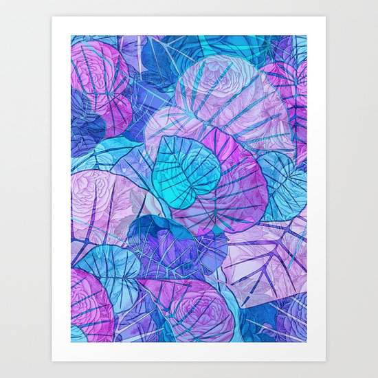 Leaves in Rosy Background Art Print